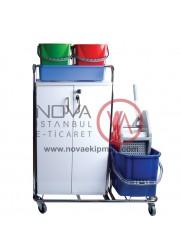 Kat Temizlik Arabası Dolaplı Temizlik Setli, Krom
