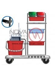 Kat Temizlik Arabası Plastik Çift Kovalı Temizlik Seti İlaveli